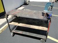 Heavy Duty Shop Table On Wheels with Vise & Arbor Press