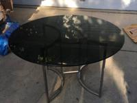thick, heavy-duty, smokey/tinted glass table glass is
