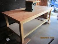 Heavy-duty workbench of red oak, assembled completely
