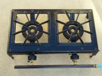 "Heavy Duty ""Cast Iron"" Two Burner Camp Stove. Brand"