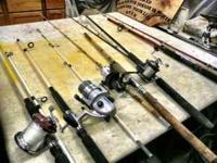 FOR SALE ARE 4 ROD AND REEL COMBO'S AND 2 RODS. LISTED