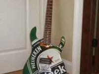 Heineken Electric Guitar and Stand Used- Good shape
