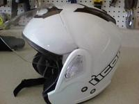 Icon Helmet white Size Lrg color White Drop down Sun