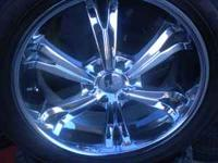 "We have a set of 4 helu 22"" rims with tires that have"