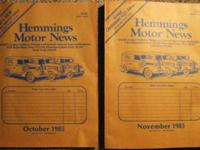 HEMMINGS MOTOR NEWS LOT Oct 1980, Oct, Nov, Dec 1985,