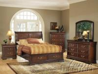 Hennessy Brown Cherry Finish Queen Bedroom Set