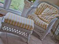 Nice wicker Chair & Ottoman made by Henry Link,