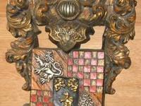 This elaborate heraldic shield is made of durable,