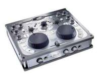 Portable, twin deck DJ mixer with audio customized to