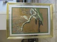 Large (34 X 44) beautiful oriental style lithography of
