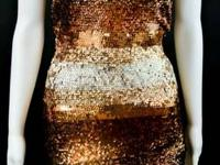 Herve Leger Gold Copper Silver Bronze Sequin Plaster