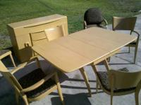 Very nice Heywood Wakefeild wheat stained dining set.