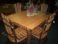 Wonderful Amish made Hickory Table w/ a solid oak top