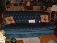Very Good Condition High back diamond tuck Blue Sofa w/