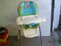 used fisher price easy fold, high chair.