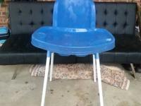 Blue plastic high chair with metal legs. Removable