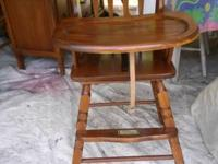 Solid Wood High Chair w/removable tray, foot rest.