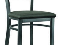 This chair features a durable metal frame with a baked