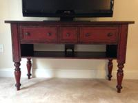 Red, Pottery Barn TV Console Table for sale in great