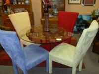 Glass top highboy table and chair set with Iron base -