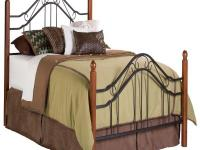 The Madison Bed combines wood and iron to create a