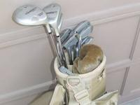 His and hers golf clubs and bags. Hers: Verdict with 12