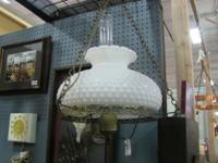 Hanging oil lamp with milk glass shade and glass