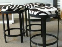 TREASURES ID #15926  Gorgeous animal hide stools by