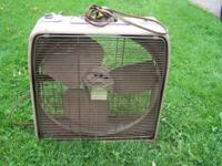 "This metal box fan is approximately 22"" x22"". It works"