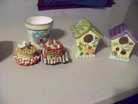 FLORAL DECOR, BIRD HOUSES, BASKETS, CANDLE TOPPER WITH