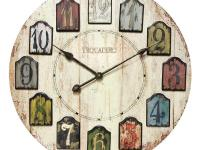With a wood grain dial, the Weathered Plank Wall Clock