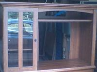 oak brown entertainment center cabinet hieght is 60 1/2
