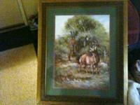 Home Interior Framed Deer Picture. Measures 24 By 19