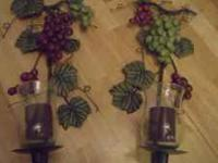 This is a set of 2 Grape or Wine Style Candle Sconces.