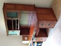 "Oak Desk with hutch. Hutch has light for desk.73"" t x"