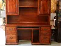 Real Wood Computer Desk and Hutch. 5 drawers , one