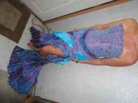 Purple /turquoise flemenco style dress. Heavily beaded