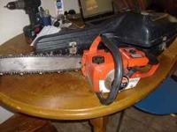 """homelite 16"""" chainsaw runs good,COMES WITH CASE 50.00"""