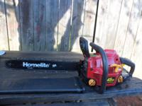 "Homelite Chain Saw 18"" 45cc Power Stroke with case,"