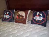 Here are three decorative pillows that I sewed by hand.