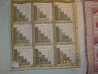 "Green Log cabin 34"" Baby quilt or wall hanging all hand"