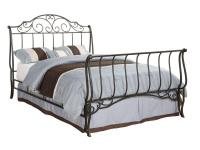 The full-size metal sleigh bed is a unique and elegant