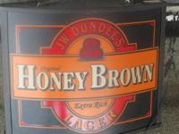 THIS IS A 'HONEY BROWN' BEER SIGN WITH A LIGHT. THIS