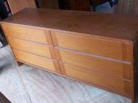 Honey Brown Wood Dresser - Long w/6 Drawers Nice