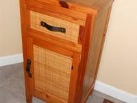 HONEY PINE & WICKER ACCENT STAND W DRAWER & CABINET