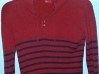 Red hooded pullover top with blue stripes. Long