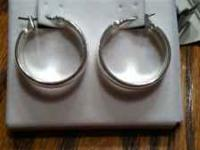 Silver Hoop Earrings. Asking $5 email or txt  no calls
