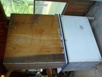"Antique hoosier cabinet that is 40"" large and 68"" tall,"