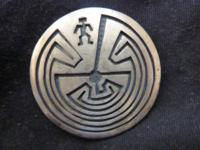 Sterling silver Hopi overlay pin from 1960s or 1970s. 1