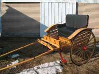 "Horse cart made from hickery and oak, 45"" wheels like"